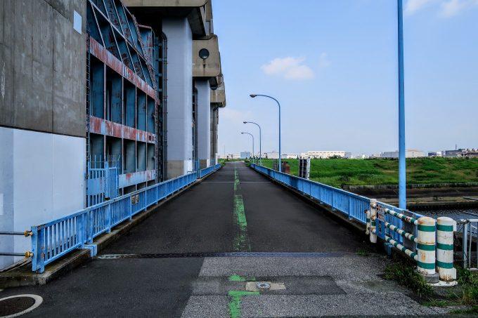 新岩淵水門の裏の道路